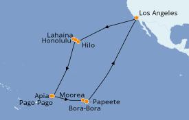 Itinéraire de la croisière Polynésie 29 jours à bord du Star Princess
