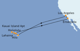 Itinéraire de la croisière Hawaii 16 jours à bord du Star Princess