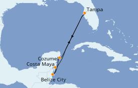 Itinéraire de la croisière Caraïbes de l'Ouest 7 jours à bord du Carnival Pride