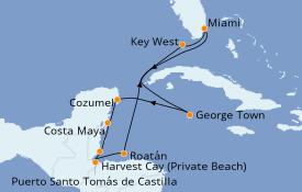 Itinéraire de la croisière Caraïbes de l'Ouest 11 jours à bord du Seven Seas Explorer
