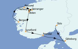 Itinéraire de la croisière Fjords & Norvège 8 jours à bord du Le Dumont d'Urville