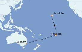 Itinéraire de la croisière Transatlantiques et Grands Voyages 2022 18 jours à bord du Radiance of the Seas