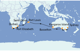 Itinéraire de la croisière Australie 2023 27 jours à bord du Queen Mary 2