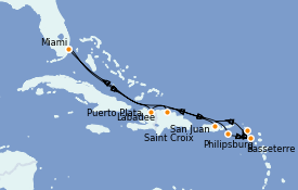 Itinéraire de la croisière Caraïbes de l'Est 10 jours à bord du Radiance of the Seas