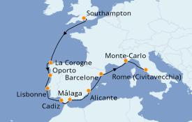 Itinéraire de la croisière Méditerranée 11 jours à bord du Norwegian Dawn