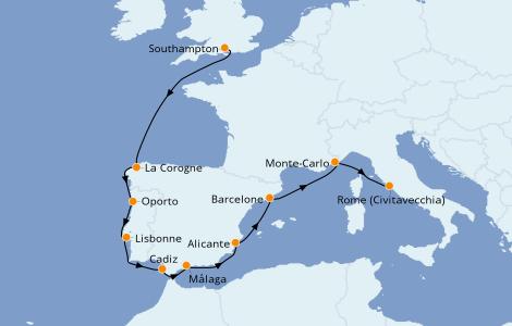 Itinéraire de la croisière Méditerranée 10 jours à bord du Norwegian Dawn
