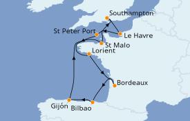 Itinéraire de la croisière Atlanique 11 jours à bord du Seven Seas Splendor