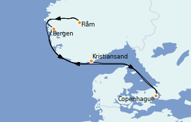 Itinéraire de la croisière Fjords & Norvège 6 jours à bord du Jewel of the Seas