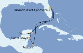 Itinéraire de la croisière Caraïbes de l'Ouest 8 jours à bord du Carnival Mardi Gras