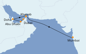 Itinéraire de la croisière Dubaï - Emirats 10 jours à bord du Silver Moon