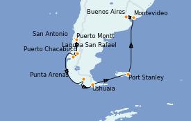 Itinéraire de la croisière Amérique du Sud 17 jours à bord du Seven Seas Voyager