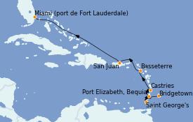Itinéraire de la croisière Caraïbes de l'Est 9 jours à bord du Silver Whisper