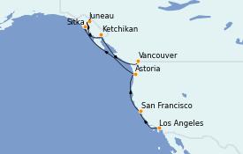 Itinéraire de la croisière Alaska 13 jours à bord du MS Regatta