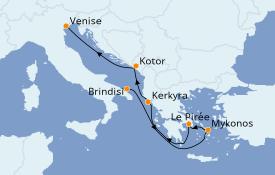 Itinéraire de la croisière Grèce & Adriatique 7 jours à bord du MSC Musica