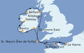 Itinéraire de la croisière Îles Britanniques 12 jours à bord du Jules Verne