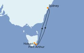 Itinéraire de la croisière Australie 2022 6 jours à bord du Carnival Splendor