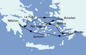 Itinéraire de la croisière Grèce & Adriatique 8 jours à bord du Le Bellot