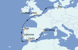 Itinéraire de la croisière Méditerranée 10 jours à bord du MSC Grandiosa