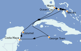 Itinerario de crucero Caribe del Oeste 11 días a bordo del MSC Divina
