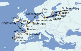 Itinéraire de la croisière Mer Baltique 29 jours à bord du MS Marina