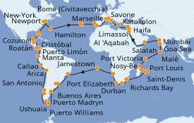 Itinéraire de la croisière Tour du Monde 2021 116 jours à bord du Costa Deliziosa