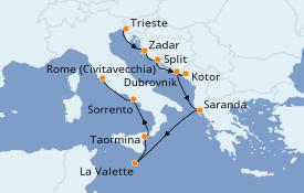 Itinéraire de la croisière Méditerranée 12 jours à bord du Silver Moon
