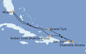 Itinéraire de la croisière Caraïbes de l'Est 8 jours à bord du Carnival Magic