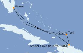 Itinéraire de la croisière Caraïbes de l'Est 6 jours à bord du Carnival Sunrise