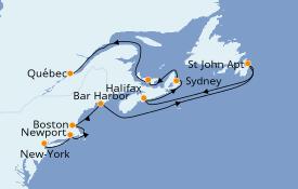 Itinéraire de la croisière Canada 11 jours à bord du Caribbean Princess