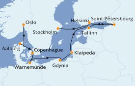 Itinéraire de la croisière Mer Baltique 13 jours à bord du Seven Seas Explorer