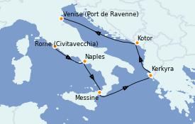 Itinéraire de la croisière Méditerranée 7 jours à bord du Brilliance of the Seas