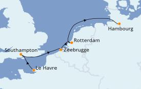 Itinéraire de la croisière Mer Baltique 6 jours à bord du MSC Preziosa