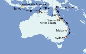 Itinéraire de la croisière Australie 2021 14 jours à bord du Silver Muse