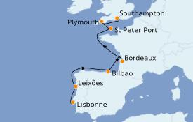 Itinéraire de la croisière Îles Britanniques 11 jours à bord du Azamara Pursuit