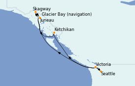 Itinéraire de la croisière Alaska 8 jours à bord du Crown Princess