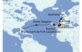 Itinéraire de la croisière Îles Canaries 17 jours à bord du Sky Princess