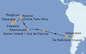 Itinéraire de la croisière Amérique du Sud 23 jours à bord du Silver Cloud Expedition