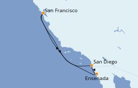 Itinéraire de la croisière Californie 6 jours à bord du Ruby Princess