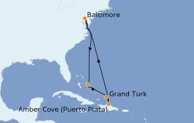 Itinéraire de la croisière Caraïbes de l'Est 9 jours à bord du Carnival Legend