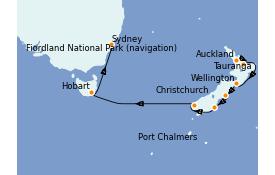 Itinéraire de la croisière Australie 2022 12 jours à bord du Emerald Princess