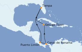 Itinéraire de la croisière Caraïbes de l'Ouest 9 jours à bord du Carnival Legend