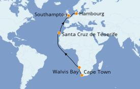 Itinéraire de la croisière Afrique 18 jours à bord du Queen Victoria