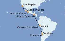 Itinéraire de la croisière Riviera Mexicaine 19 jours à bord du Discovery Princess
