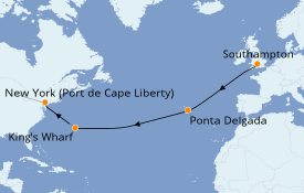 Itinéraire de la croisière Transatlantiques et Grands Voyages 2020 13 jours à bord du Anthem of the Seas