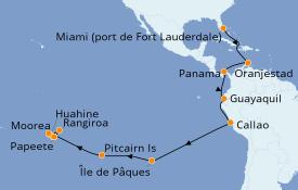 Itinéraire de la croisière Polynésie 35 jours à bord du Pacific Princess