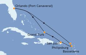 Itinéraire de la croisière Caraïbes de l'Est 9 jours à bord du Carnival Radiance
