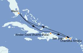 Itinéraire de la croisière Caraïbes de l'Est 8 jours à bord du Carnival Celebration