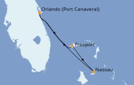 Itinéraire de la croisière Bahamas 5 jours à bord du Carnival Liberty