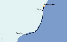 Itinerario de crucero Suramérica 9 días a bordo del Costa Smeralda