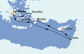 Itinéraire de la croisière Grèce & Adriatique 8 jours à bord du MSC Lirica